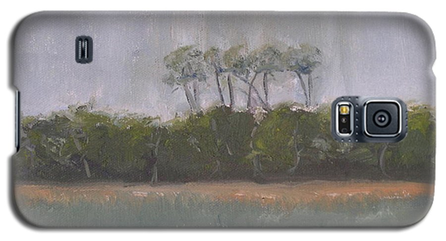 Landscape Beach Coast Tree Water Galaxy S5 Case featuring the painting Tropical Storm by Patricia Caldwell
