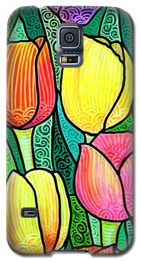 Tulips Galaxy S5 Case featuring the painting Tulip Expo by Jim Harris