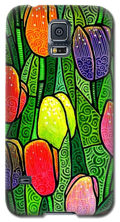 Tulips Galaxy S5 Case featuring the painting Tulip Glory by Jim Harris