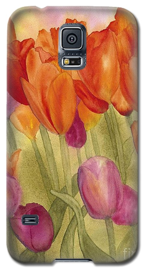 Tulips Galaxy S5 Case featuring the painting Tulip Glory by Louise Magno