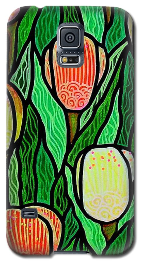 Tulips Galaxy S5 Case featuring the painting Tulip Joy 2 by Jim Harris