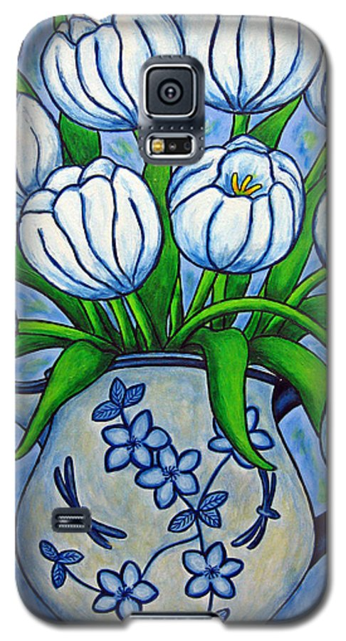 Flower Galaxy S5 Case featuring the painting Tulip Tranquility by Lisa Lorenz