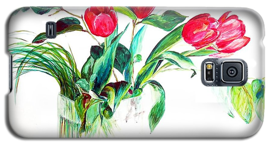 Flower Galaxy S5 Case featuring the painting Tulipes by Muriel Dolemieux