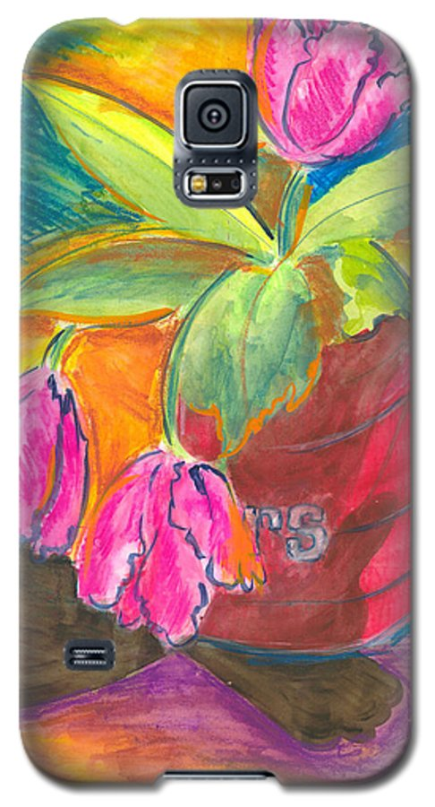 Flowers Galaxy S5 Case featuring the painting Tulips In Can by Jean Blackmer