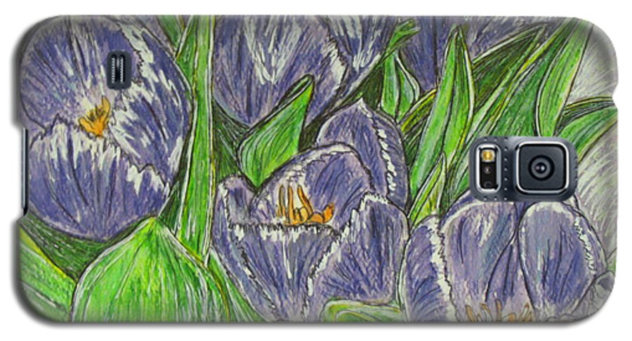 Tulips Galaxy S5 Case featuring the painting Tulips In The Spring by Kathy Marrs Chandler