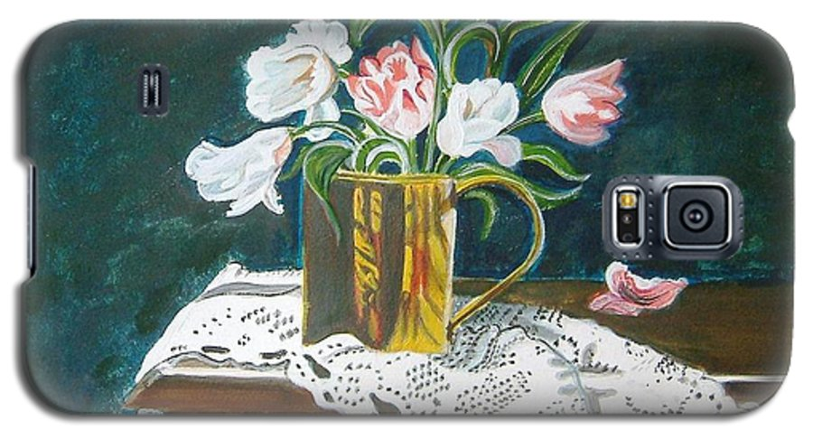 Tulips Galaxy S5 Case featuring the painting Tulips by Manjiri Kanvinde