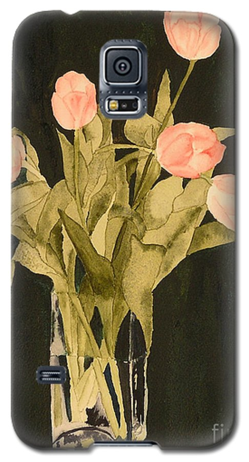 Tulips Galaxy S5 Case featuring the painting Tulips On Velvet by Louise Magno