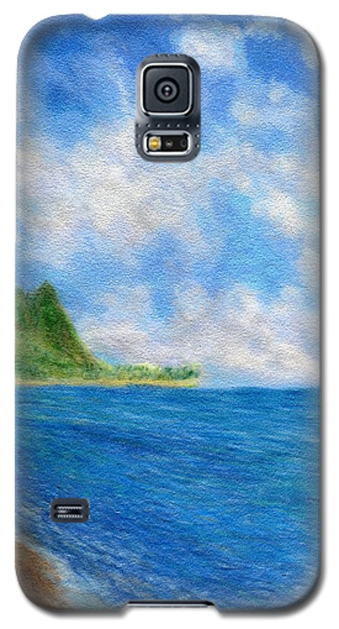 Rainbow Colors Pastel Galaxy S5 Case featuring the painting Tunnels Beach Sky by Kenneth Grzesik