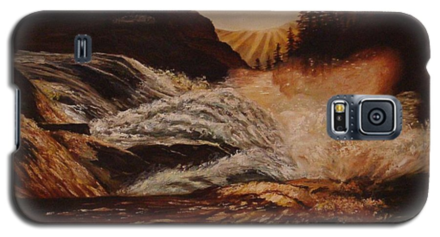 Water Galaxy S5 Case featuring the painting Turbulent Waters by Quwatha Valentine
