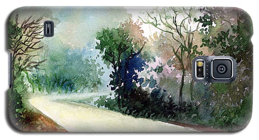 Landscape Water Color Nature Greenery Light Pathway Galaxy S5 Case featuring the painting Turn Right by Anil Nene