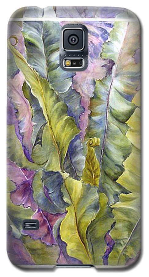 Ferns;floral; Galaxy S5 Case featuring the painting Turns Of Ferns by Lois Mountz