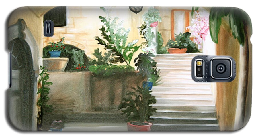 Portrait Galaxy S5 Case featuring the painting Tuscan Courtyard Detail by Maryn Crawford