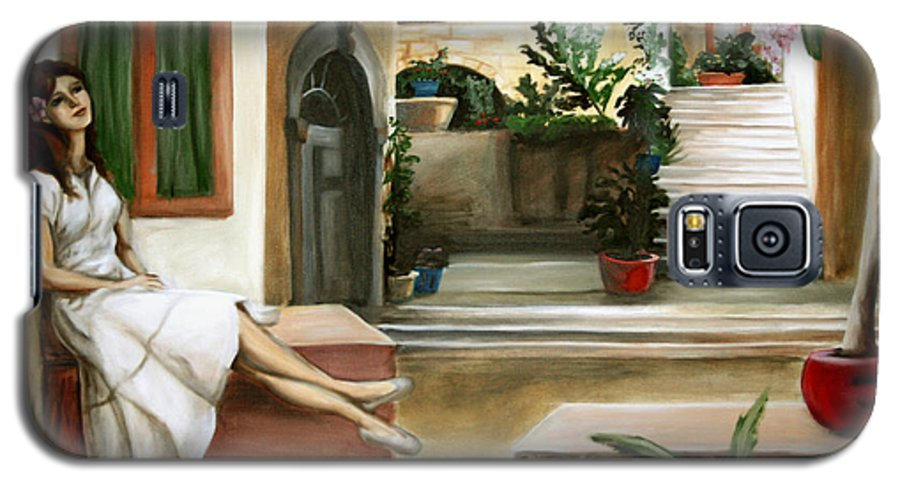 Portrait Galaxy S5 Case featuring the painting Tuscan Courtyard by Maryn Crawford