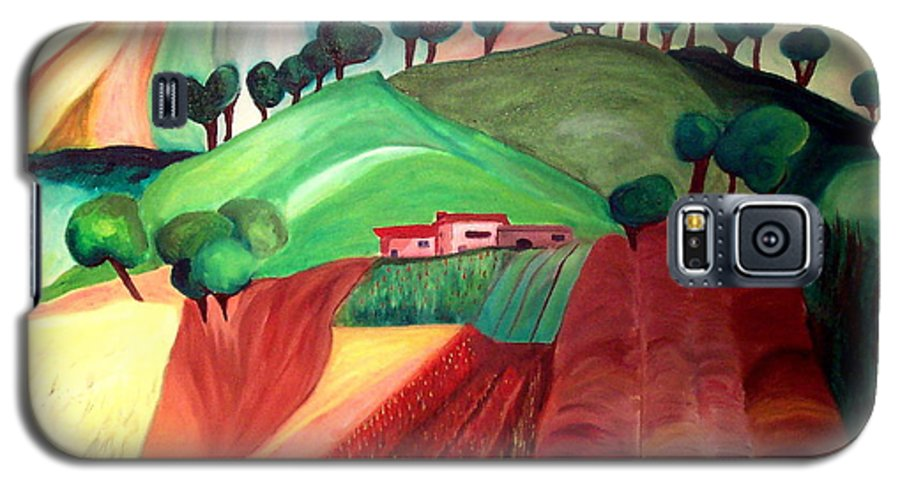 Abstract Galaxy S5 Case featuring the painting Tuscan Landscape by Patricia Arroyo