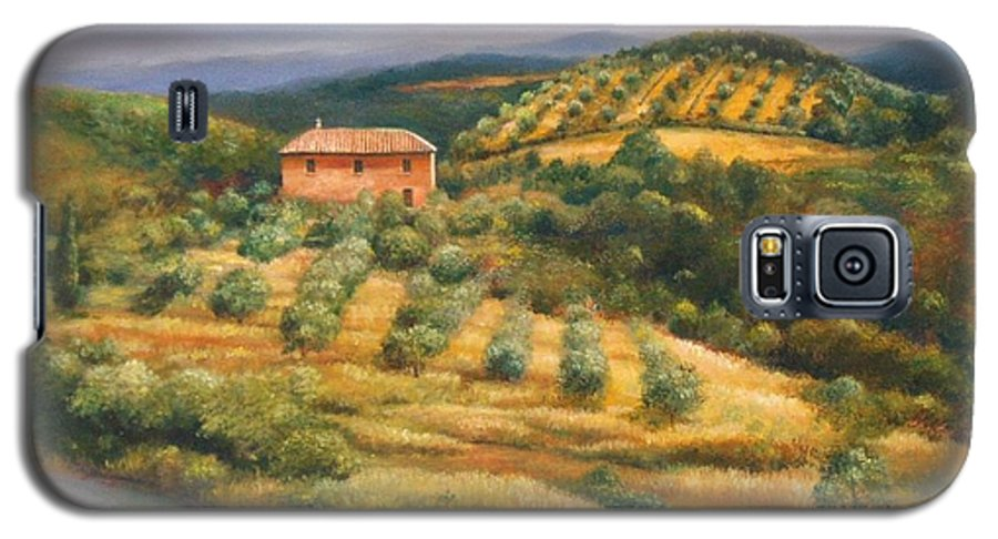 Landscape Galaxy S5 Case featuring the painting Tuscan Summer by Ann Cockerill