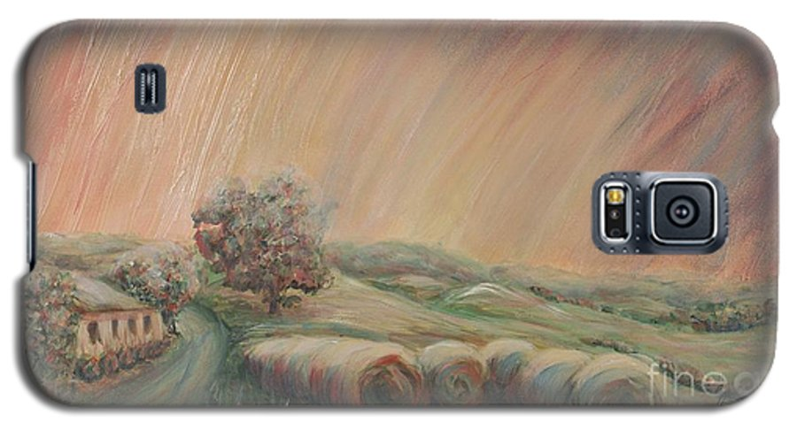 Landscape Galaxy S5 Case featuring the painting Tuscany Hayfields by Nadine Rippelmeyer