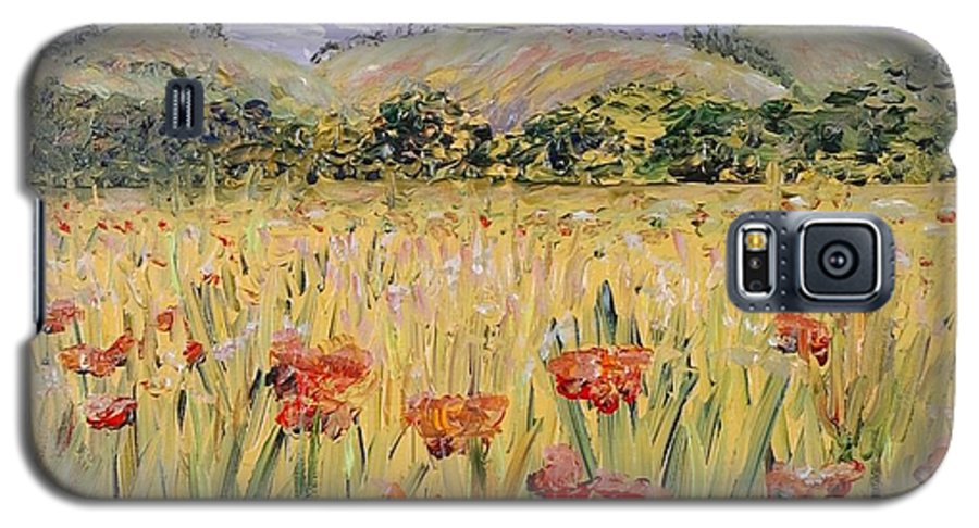Poppies Galaxy S5 Case featuring the painting Tuscany Poppies by Nadine Rippelmeyer