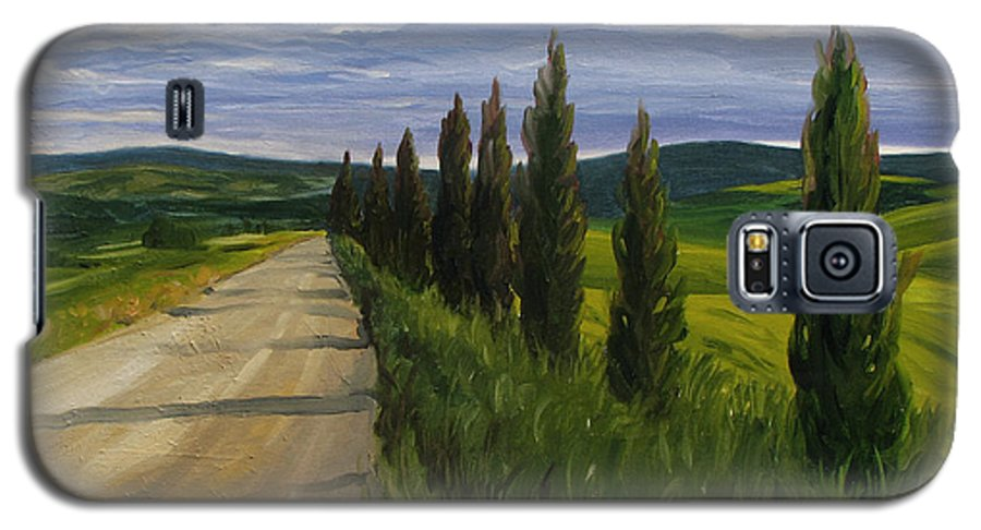 Galaxy S5 Case featuring the painting Tuscany Road by Jay Johnson