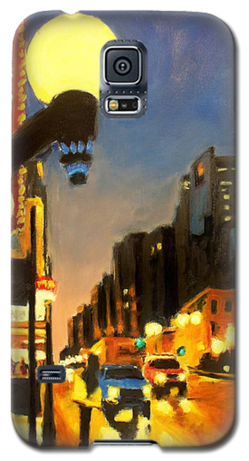 Rob Reeves Galaxy S5 Case featuring the painting Twilight In Chicago - The Watcher by Robert Reeves