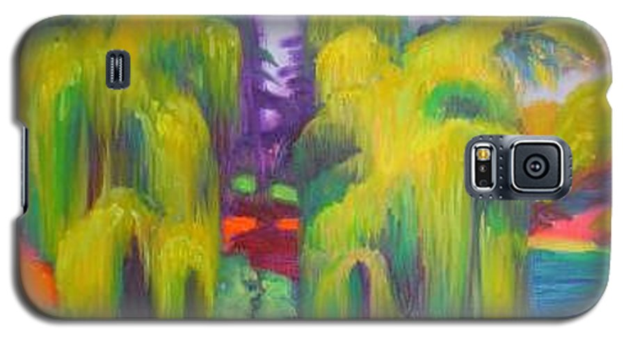 Landscape Galaxy S5 Case featuring the painting Twin Willows Chicago Botanical Gardens by David Dozier