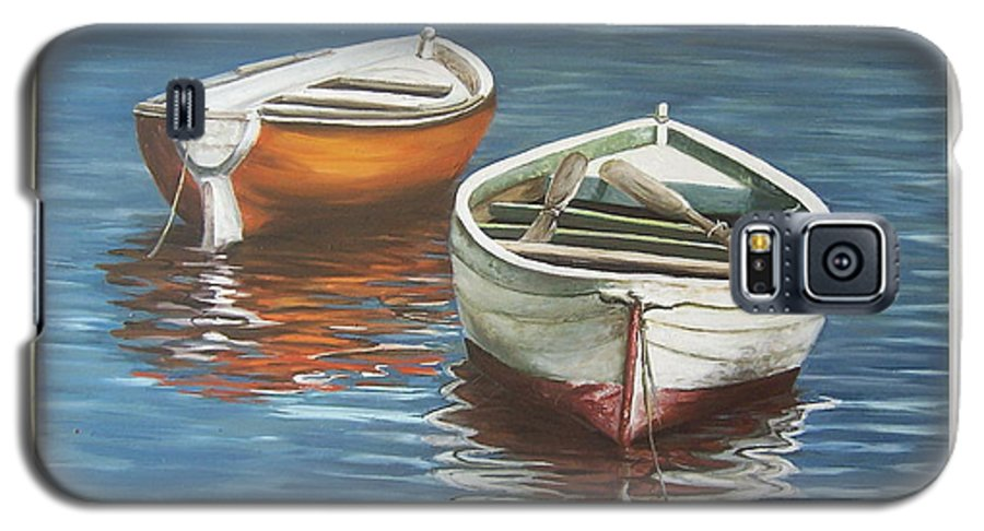 Boats Reflection Seascape Water Boat Sea Ocean Galaxy S5 Case featuring the painting Two Boats by Natalia Tejera