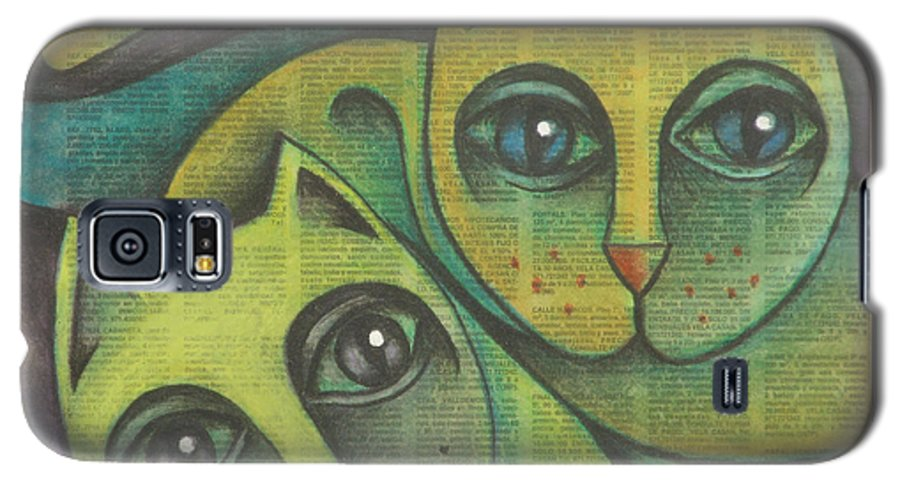 Sacha Circulism Circulismo Galaxy S5 Case featuring the drawing Two Cats 2000 by S A C H A - Circulism Technique