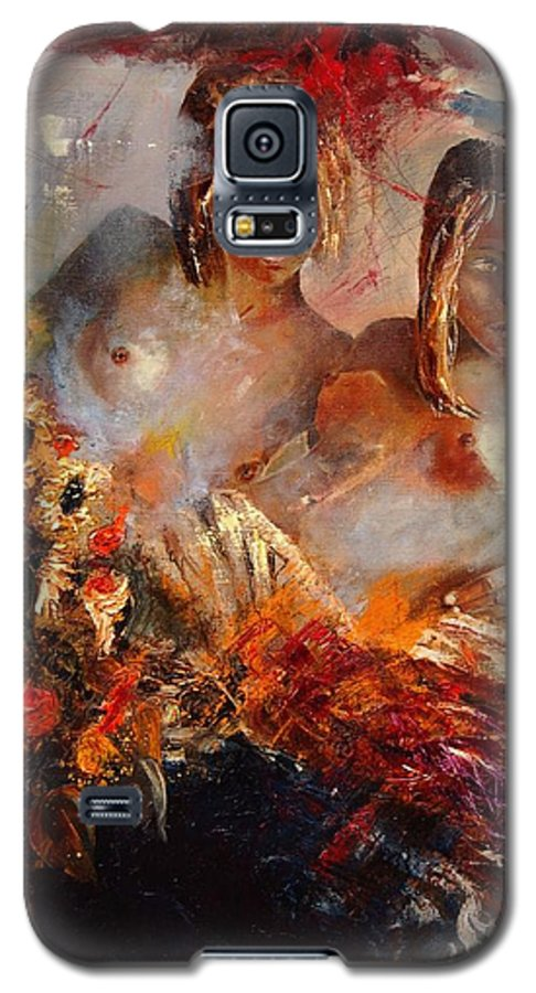 Girl Nude Galaxy S5 Case featuring the painting Two Friends by Pol Ledent