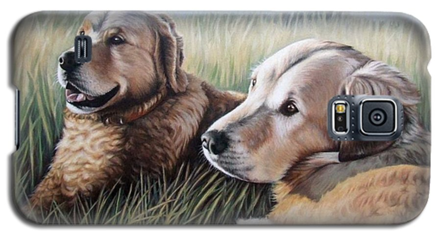 Dogs Galaxy S5 Case featuring the painting Two Golden Retriever by Nicole Zeug