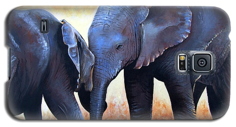 Elephants Galaxy S5 Case featuring the painting Two Little Elephants by Paul Dene Marlor