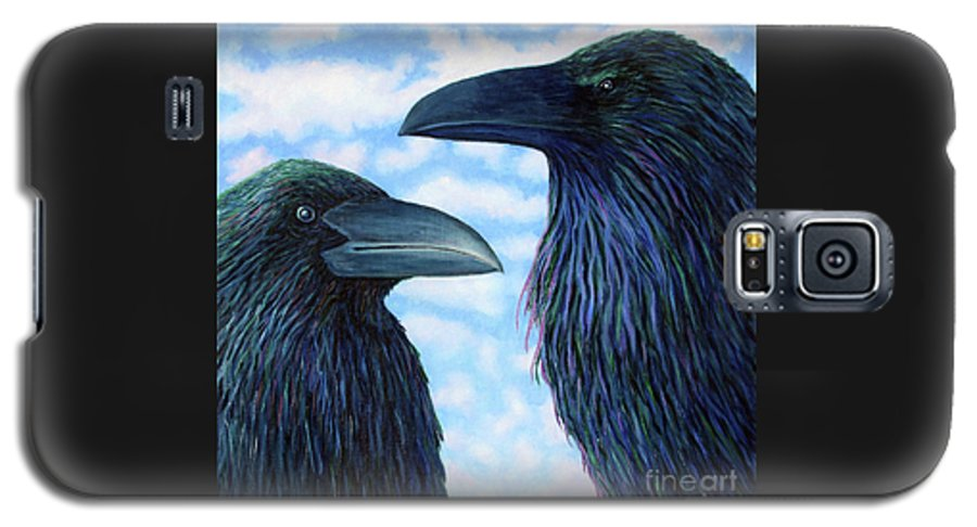 Raven Galaxy S5 Case featuring the painting Two Ravens by Brian Commerford