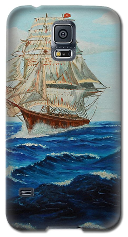 Ship Galaxy S5 Case featuring the painting Two Ships Sailing by Quwatha Valentine