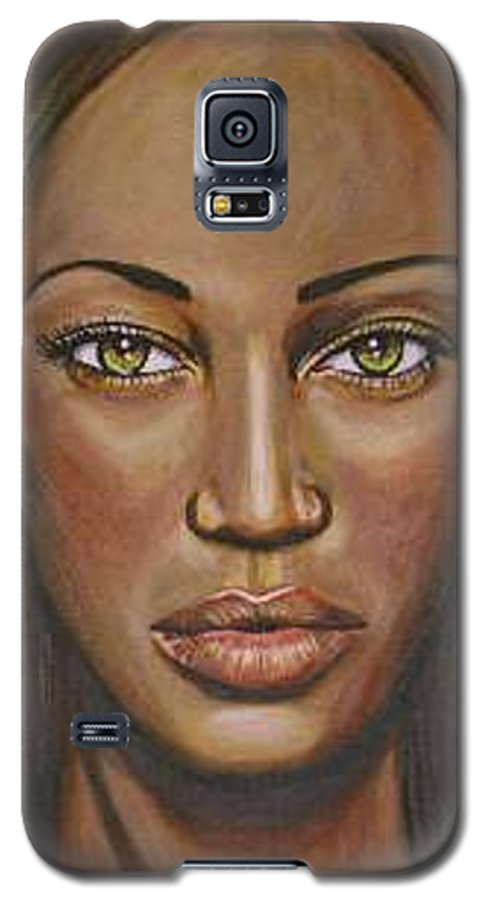 Woman Galaxy S5 Case featuring the painting Tyra by Sarah-Lynn Brown