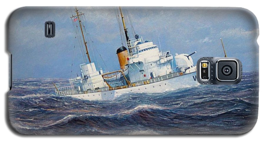 Marine Art Galaxy S5 Case featuring the painting U. S. Coast Guard Cutter Sebago Takes A Roll by William H RaVell III