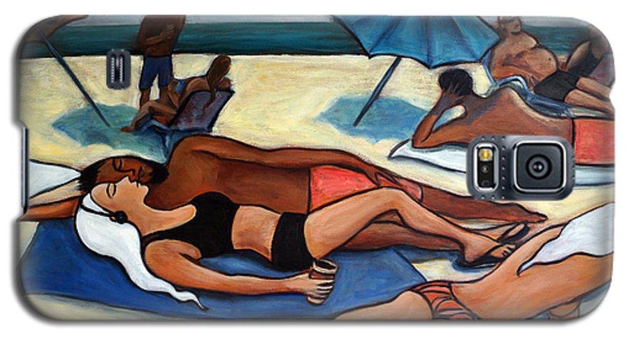Beach Scene Galaxy S5 Case featuring the painting Un Journee A La Plage by Valerie Vescovi