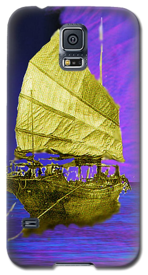 Nautical Galaxy S5 Case featuring the digital art Under Golden Sails by Seth Weaver