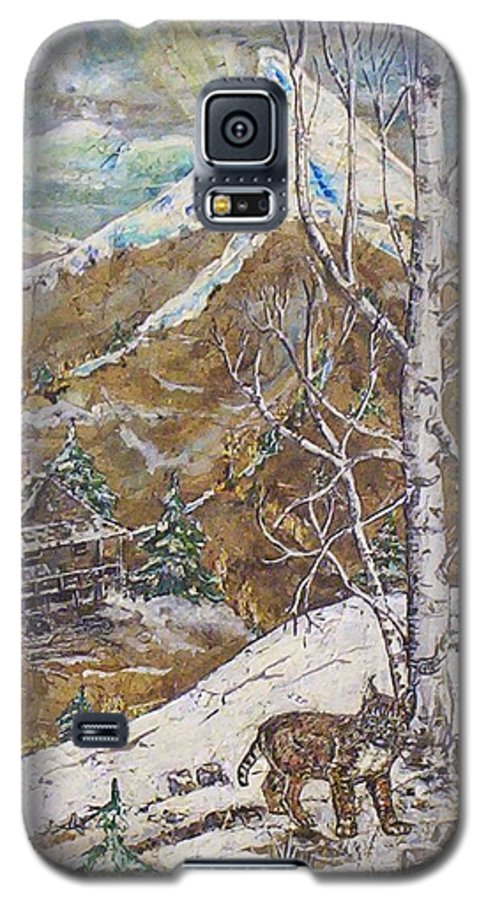 Snow Scene Galaxy S5 Case featuring the painting Unexpected Guest I by Phyllis Mae Richardson Fisher