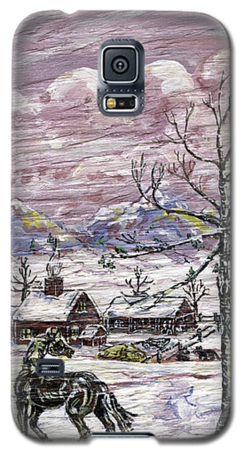 Snow Scene Galaxy S5 Case featuring the painting Unexpected Guest II by Phyllis Mae Richardson Fisher