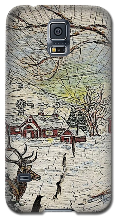 Elk Galaxy S5 Case featuring the painting Unexpected Guest IIi by Phyllis Mae Richardson Fisher