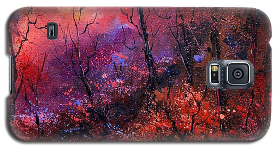 Wood Sunset Tree Galaxy S5 Case featuring the painting Unset In The Wood by Pol Ledent