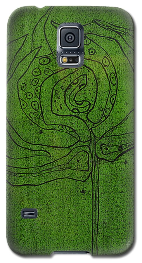 Green Galaxy S5 Case featuring the painting Untitled by Angela Dickerson