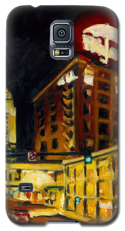 Rob Reeves Galaxy S5 Case featuring the painting Untitled In Red And Gold by Robert Reeves
