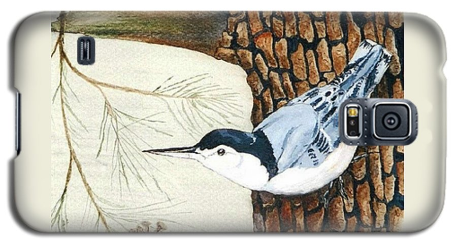 Nuthatch Galaxy S5 Case featuring the painting Upside Down by Debra Sandstrom