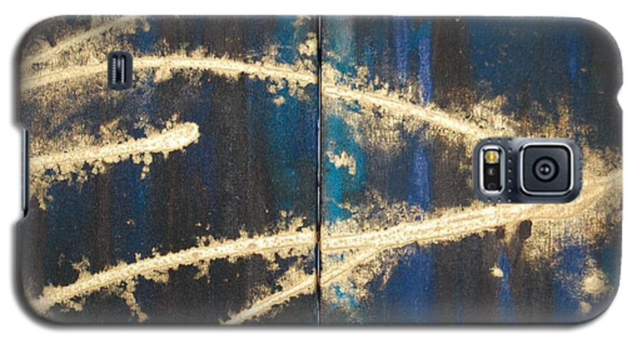 Night Galaxy S5 Case featuring the painting Urban Nightscape by Lauren Luna