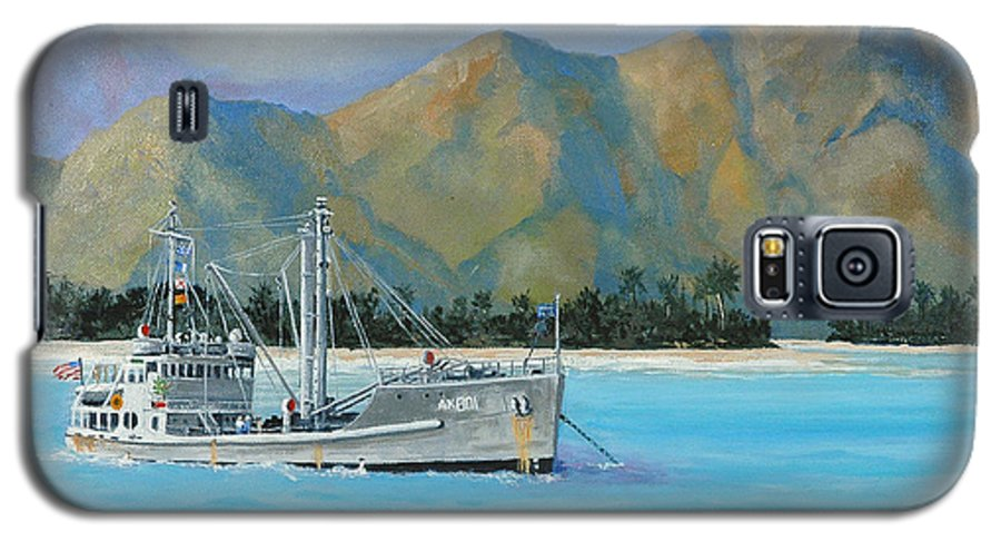 Seascape Galaxy S5 Case featuring the painting Uss Reluctant Anchored Off Ennui by Glenn Secrest