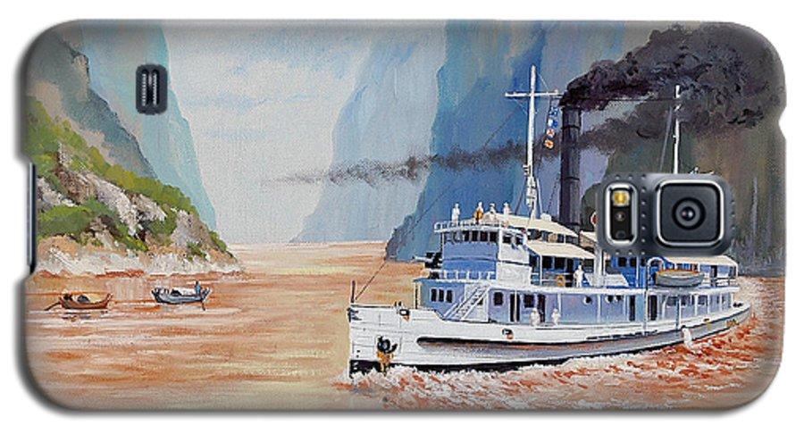 the Sand Pebbles Galaxy S5 Case featuring the painting Uss San Pablo On Yangtze River Patrol by Glenn Secrest