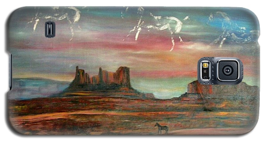 Landscape Galaxy S5 Case featuring the painting Valley Of The Horses by Darla Joy Johnson