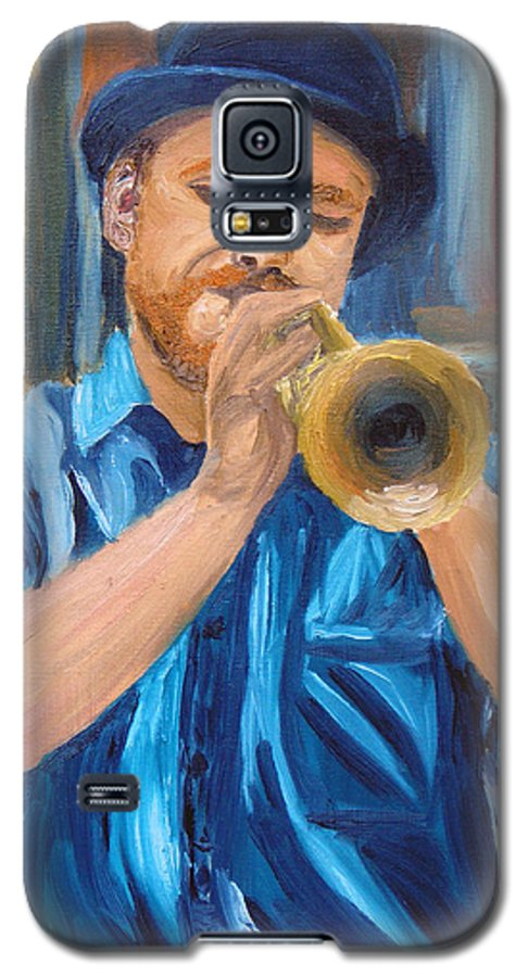 Musician Galaxy S5 Case featuring the painting Van Gogh Plays The Trumpet by Michael Lee