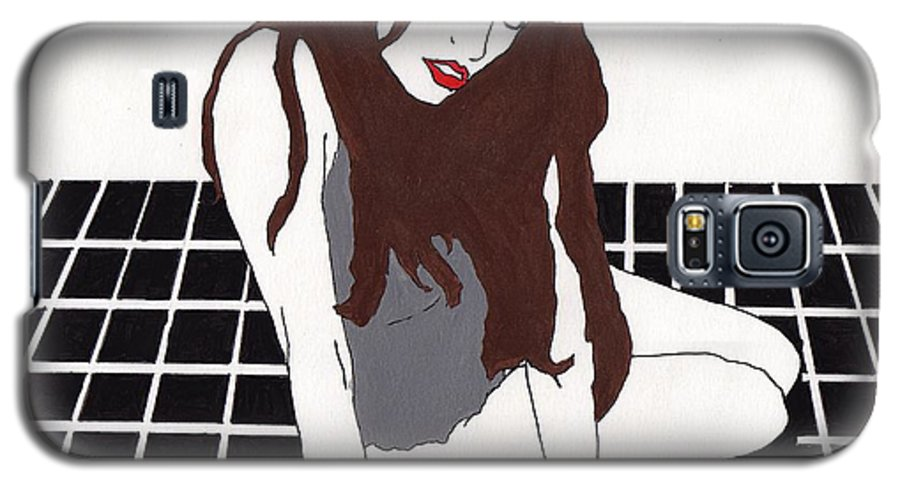 Galaxy S5 Case featuring the drawing Vanilla - Black Tile by Stephen Panoushek