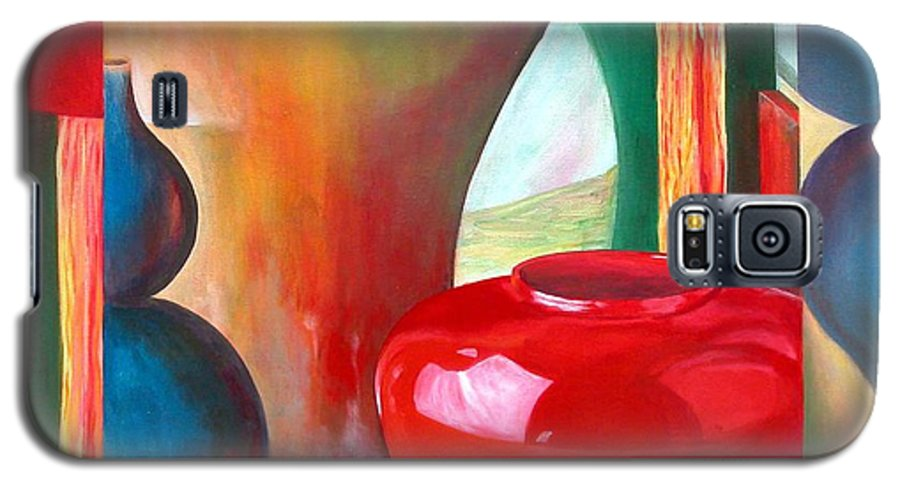 Still Life Galaxy S5 Case featuring the painting Vases by Muriel Dolemieux