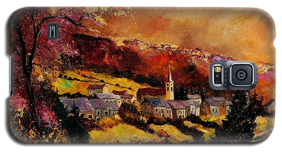 River Galaxy S5 Case featuring the painting Vencimont Village Ardennes by Pol Ledent